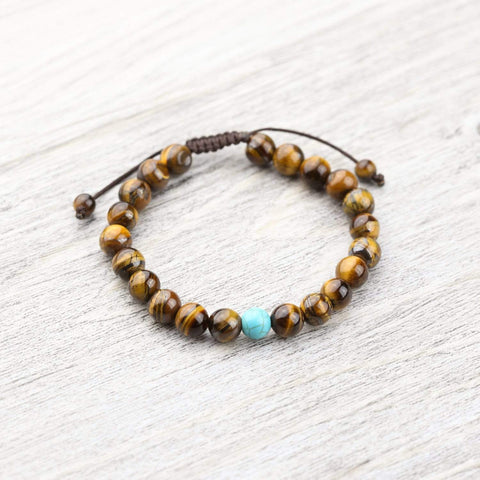 Wrist Malas Default Tiger Eye Wrist Mala with Turquoise Spacer wm061