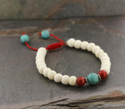 Wrist Malas Default White Bone with Turquoise Wrist Mala wm281