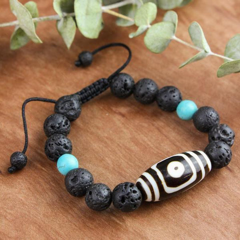 Wrist Malas Grounding Lava and Painted Dzi Men's Wrist Mala WM436