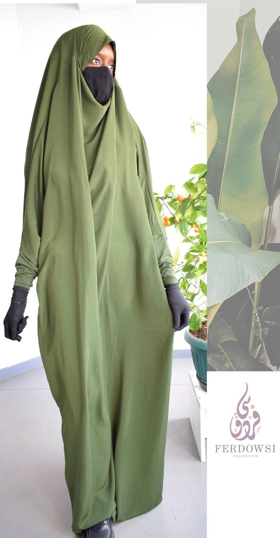 Jilbab One Piece  (Stretch Sleeve )- Olive