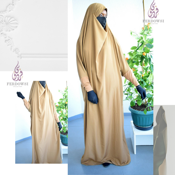 Jilbab One Piece  (Stretch Sleeve )- Deep Beige