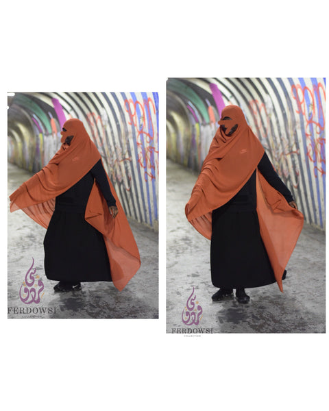 Maxi Chiffon Hijab - Burnt Orange