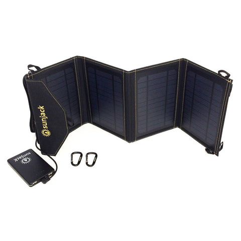 SunJack Solar Charger - 14 watts + 8000 mAh battery