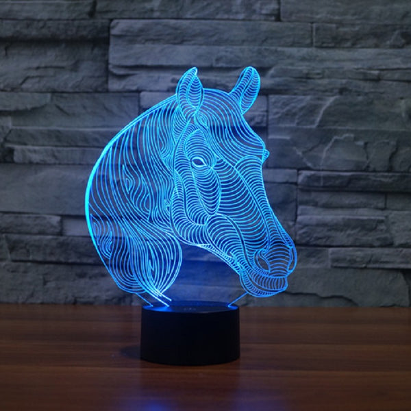 Horse Head 3D LED Lamp