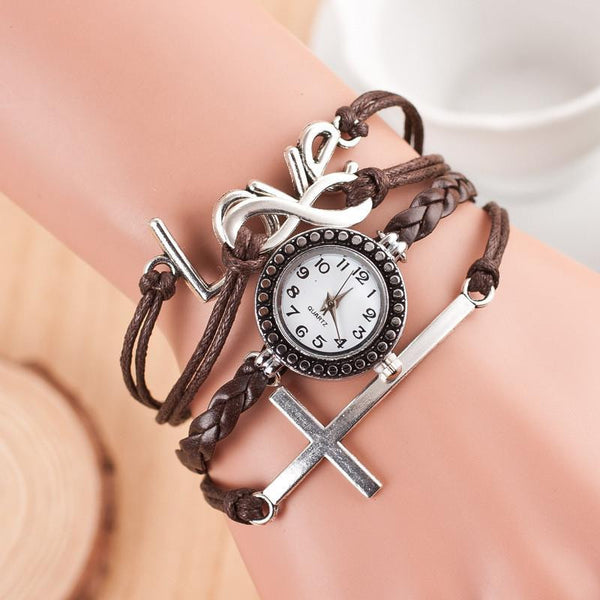 Women's 3 Piece Leather Bracelet with Watch and Cross & Love Charm