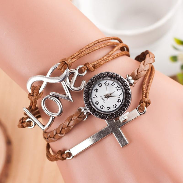 Women's 3 Piece Leather Bracelet with Watch and Cross & Love Charm Offer