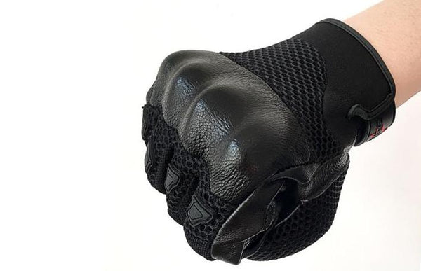Summer Goatskin Leather & Mesh Motorcycle Gloves