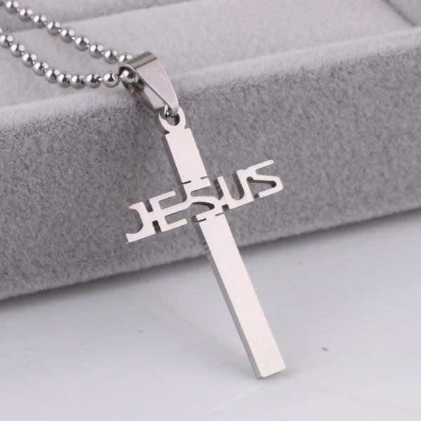 Stainless Steel JESUS Cross Pendant Necklace Offer