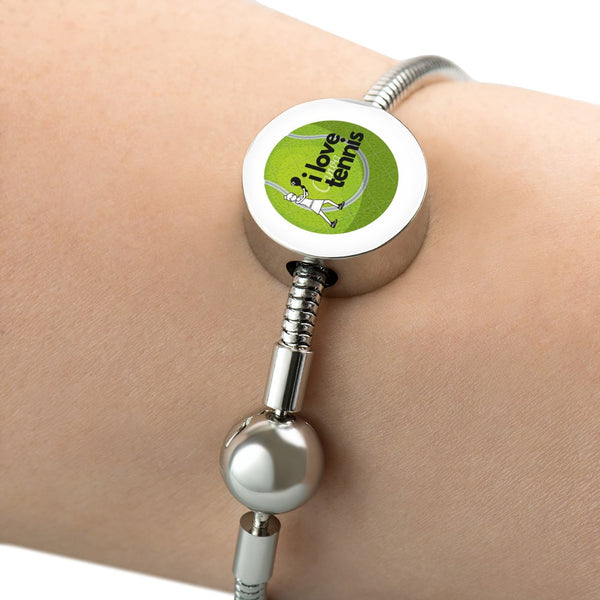 I Love Tennis Bangle and Charm