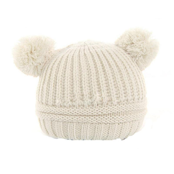 Knitted Double Pom Pom Hat for Babies