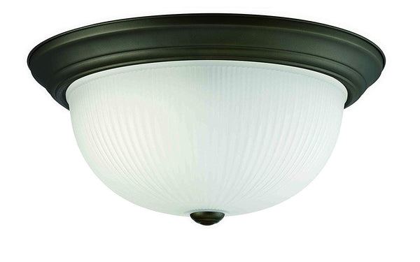 Mega Lighting Flush Dome Aged Bronze/Etched Glass(3) 60W A19 max. / Medium Base