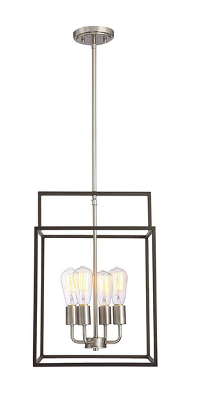 Mega Lighting 4 Light Square Pendant, Aged Bronze with Brushed Nickel Accents