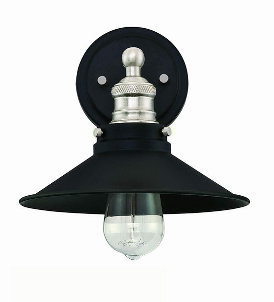 Mega Lighting Light Sconce Matte Black with Brushed Nickel Accents