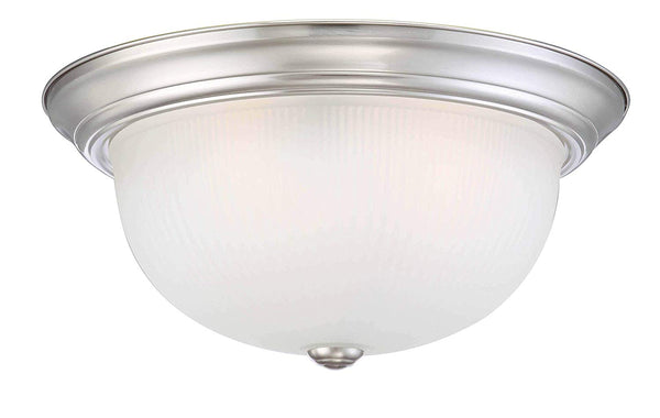 Mega Lighting Flush Dome Brushed Nickel/Etched Glass