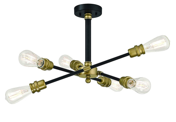 Mega Lighting 6 Light Semi-Flush Matte Black with Antique Brass Accents