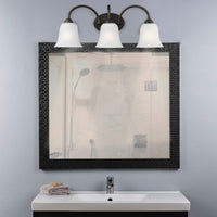 Mega Lighting 3 Light Vanity Aged Bronze/Etched Glass(3) 60W A19 max. / Medium Base