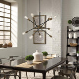 Mega lighting 10 Light Chandelier Matte Black with Antique Brass Accents