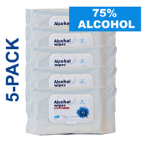 Alcohol Disposable Wipes Pre-Moistened 75% Alcohol, 50 Ct (5-Pack, 250 Wipes)