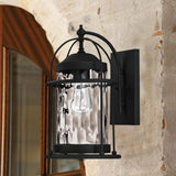 Mega Lighting Wall Lantern Textured Black/Clear Water Grain Glass