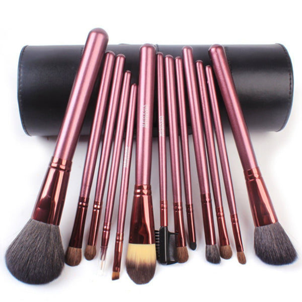 Urban Escape Studio Quality 13 Piece Natural Cosmetic Brush Set with cup Holder Leather Case