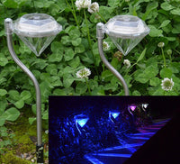 Outdoor Stainless Steel LED Diamond Solar Garden Path Lights (7 Colors) - 4 pack
