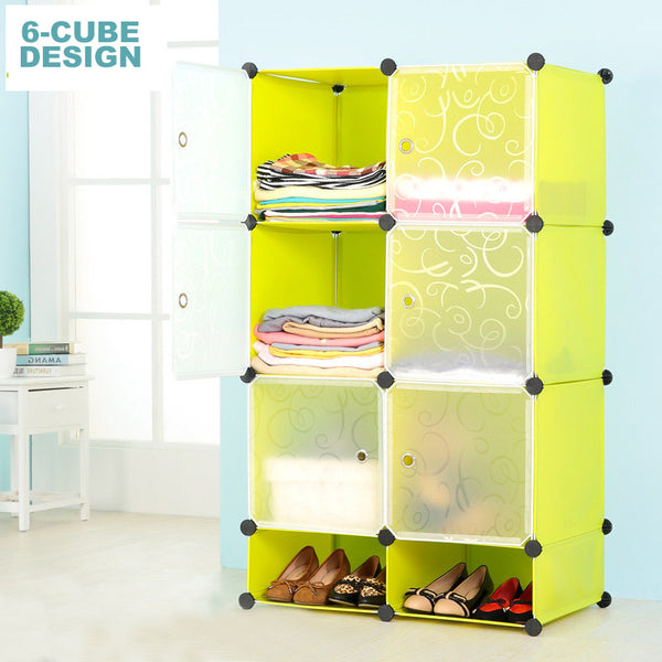 Amanda Home Portable 6-Cube Clothes Closet Wardrobe Storage Organizer w/ Shoes Closet (2 Color Options)