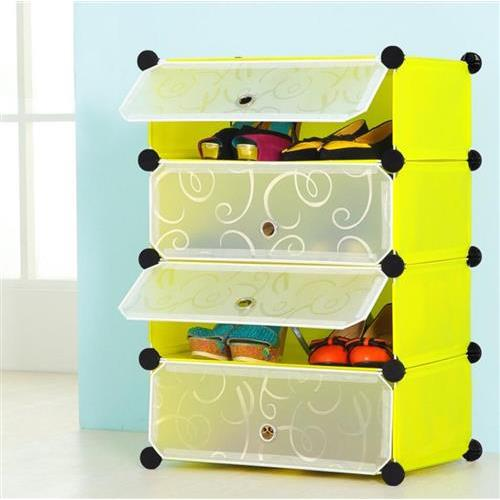 Amanda Home Portable 4-Tier Portable Shoe Rack Closet Storage Shelves with Door