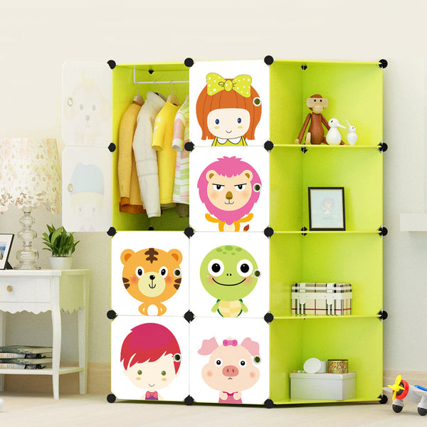 Amanda Home Cartoon Portable Clothes Closet Wardrobe Storage Organizer with Corner for kids,  8-Cube