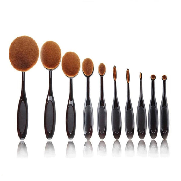 Urban Escape 10-Piece Soft Oval Toothbrush Makeup Brush Set Foundation Brushes
