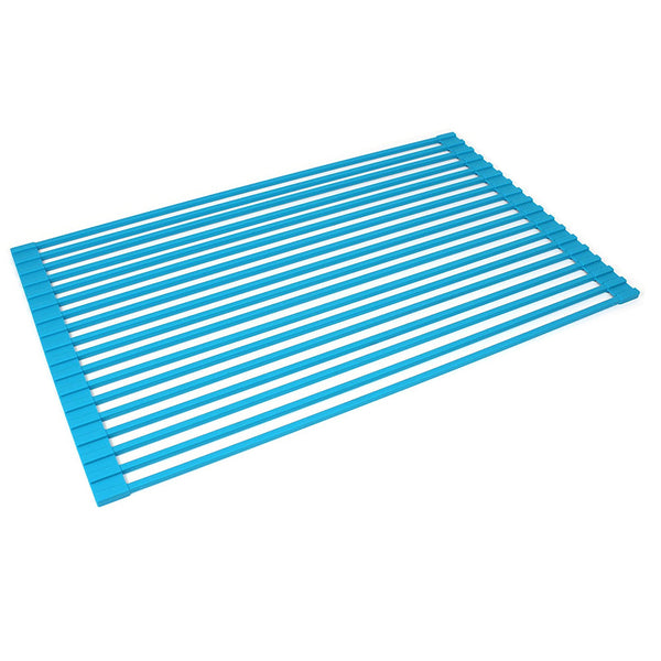 Over The Sink Roll Up Dish Drying Rack Silicone Coated