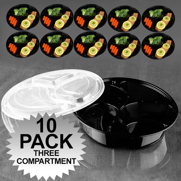 Green Earth 30oz 3-Compartment Round Meal Prep Food Storage Containers with Lids - 10 Pack