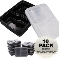 Green Earth 35oz 3-Compartment Meal Prep Food Storage Containers with Lids - 10 Pack
