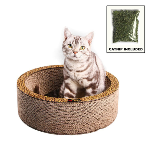 "Paw Essentials MJ042 13.4"" Bowl-shaped Cardboard Cat Scratcher with Catnip"