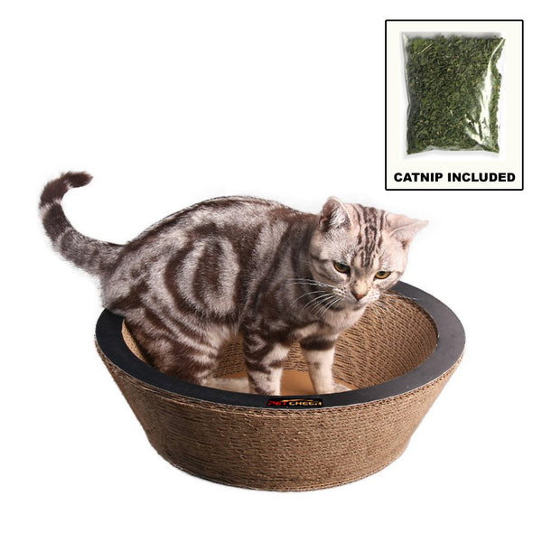 "Paw Essentials MJ041 14.2"" Bowl-shaped Cardboard Cat Scratcher with Catnip"