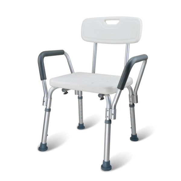 Active Authority Adjustable Skidproof Aluminium Alloy Shower/Bath Chair Seat with Back & Arms