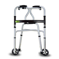 Active Authority Lightweight Aluminum Adjustable Folding Walker with Wheels, up to 385lbs