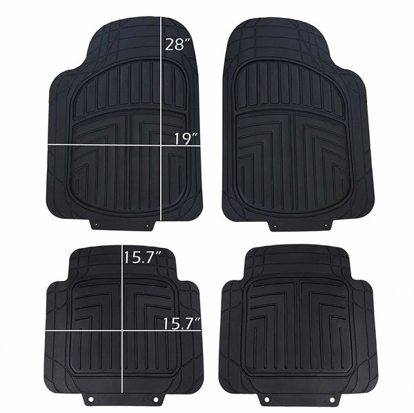 WOW AUTO Rubber Floor Mats - 100% Odorless & All Weather Heavy Duty (4-piece) 02