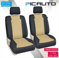 WOW AUTO Car Seat Covers Set for Auto, Truck, Van, SUV - PolyCloth, Airbag Compatible (Tan)