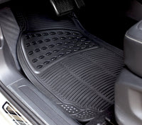 WOW AUTO Universal Rubber Floor Mats for Car, SUV, Van & Trucks (3-piece, black)