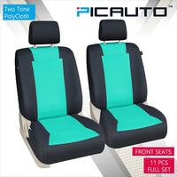 WOW AUTO Car Seat Covers Set for Auto, Truck, Van, SUV - PolyCloth, Airbag Compatible (Mint Green)