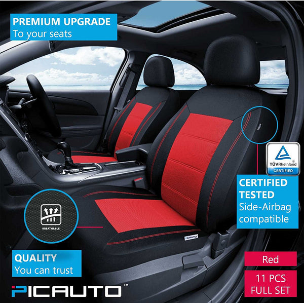 WOW AUTO Universal Fit Full Set Mesh And Leather Car Seat Cover Red