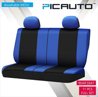 WOW AUTO Universal Fit Full Set Mesh Fabric Car Seat Cover (Dark Blue)