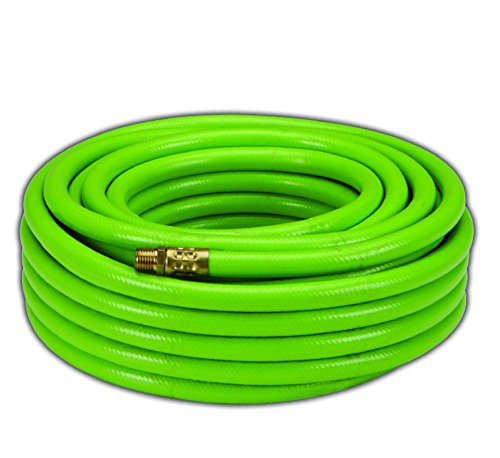 Dynamic Power PVC/Rubber Hybrid Air Hose 3/8-Inch by 50-Feet, 1/4-Inch MNPT Brass Ends (Green)