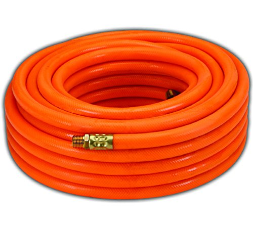 Dynamic Power PVC Air Hose Heavy-Duty Air Hose, 50ft, 3/8-Inch, Reinforced PVC Hose with Brass Fittings (Orange)