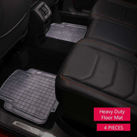 WOW AUTO Rubber Floor Mats - 100% Odorless & All Weather Heavy Duty (4-piece,black) 03