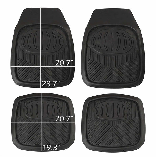 WOW AUTO Heavy Duty Rubber Deep Tray Floor Mats - 100% Odorless & All Weather (4-piece, black) 01D
