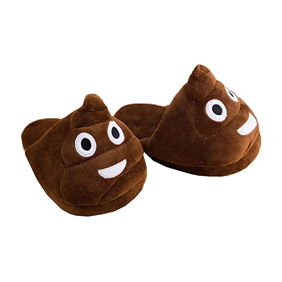 Poop Emoji Plush Indoor Slippers, Anti-Slip, Adult Unisex (5-9)