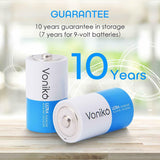 VONIKO Ultra Alkaline Batteries Size D 8-Pack 10 Year Shelf, Leakproof