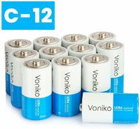 VONIKO Ultra Alkaline Batteries Size C, 10 Year Shelf, Leakproof