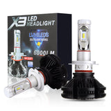 PLW X3 Auto Led Headlight 2 Pack Lighting System, H7 6500K, IP67, 360 Degree Adjustable Socket and Efficient Turbine Cooling System